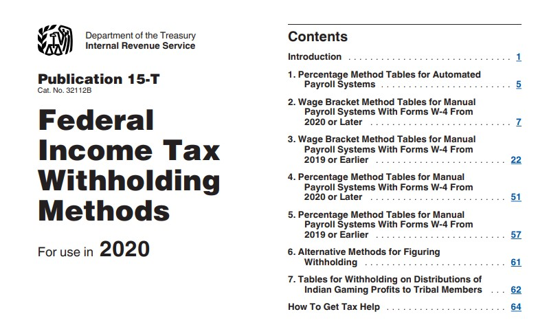 Federal Tax Withholding Tables 2020