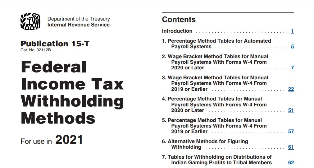 Federal Tax Withholding Tables 2021