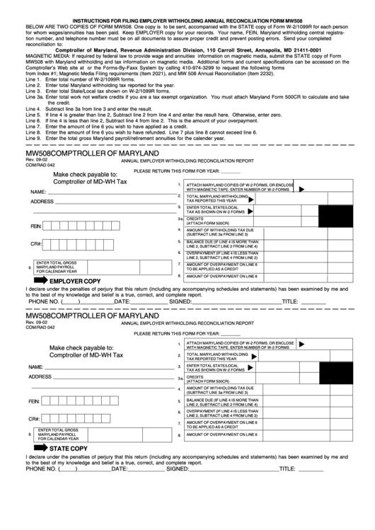 Form Mw508 Annual Employer Withholding Reconciliation