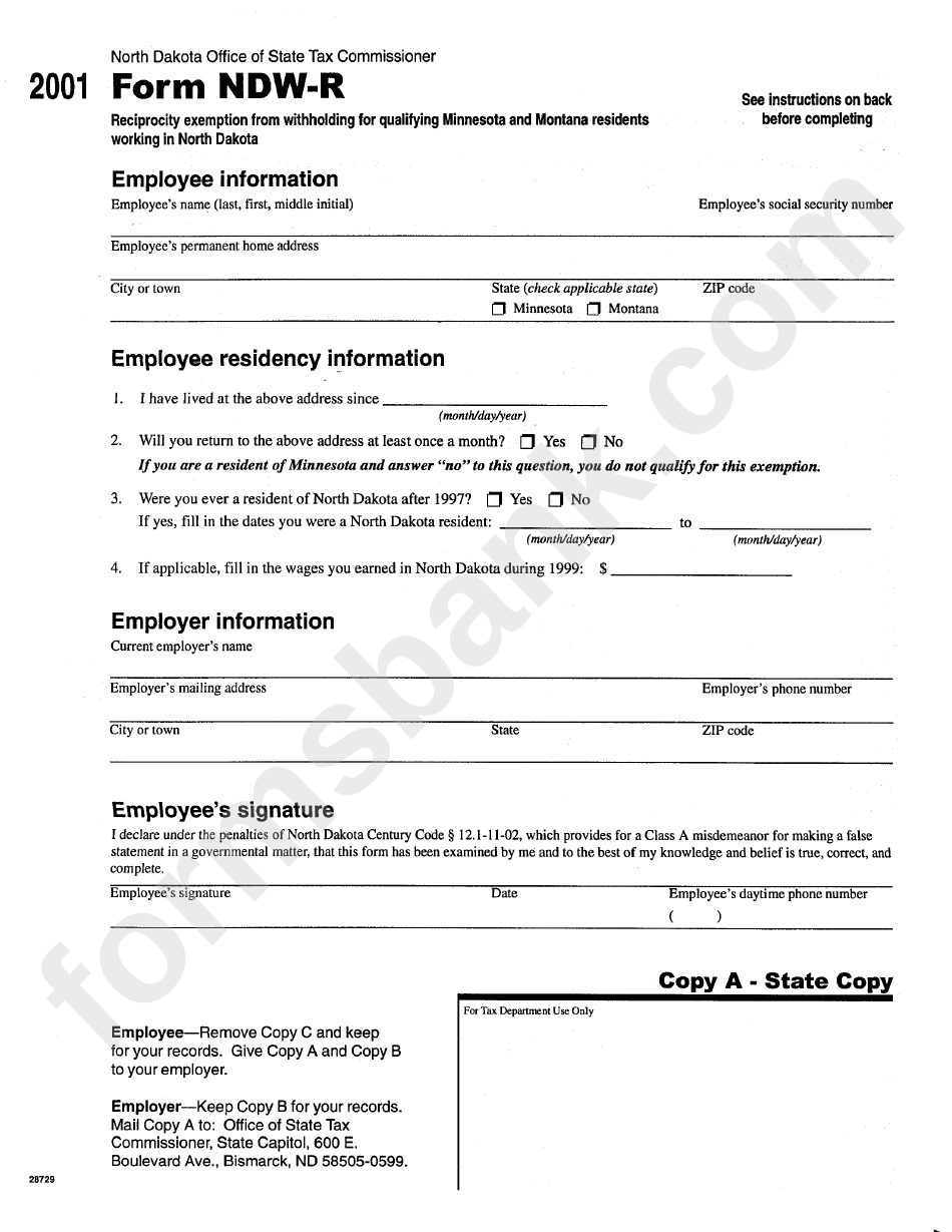 Form Ndw R Reciprocity Exemption From Withholding