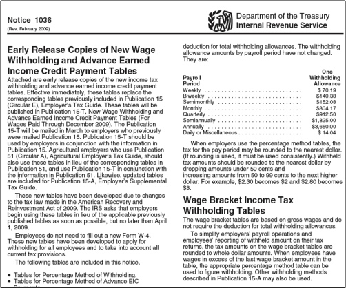 Publication 15 T Tax Tables For 02 2009 Released By IRS